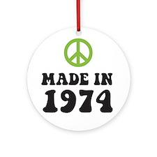 Made In 1974 Peace Symbol Ornament (Round)