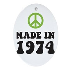 Made In 1974 Peace Symbol Oval Ornament