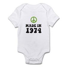 Made In 1974 Peace Symbol Infant Bodysuit
