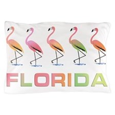 March of the Pastel Tropical Flamingos Pillow Case
