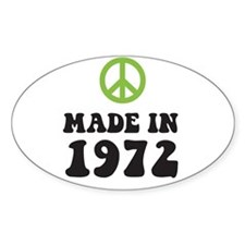 Made In 1972 Peace Symbol Oval Decal