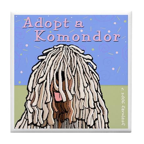 Adopt a Komondor Tile Coaster