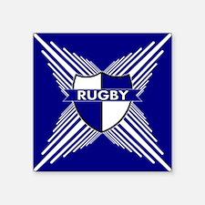 "Rugby Crest Blue White Stripe Square Sticker 3"" x"