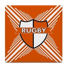 Rugby Crest Orange White Stripe Tile Coaster