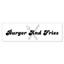 Burger And Fries (fork and kn Bumper Bumper Sticker