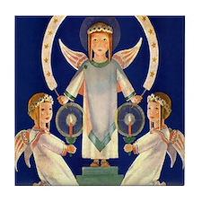 Scandinavian Saint Lucia Angels Tile Coaster