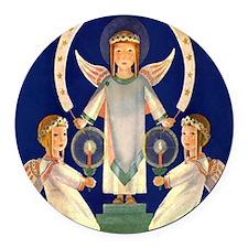 Scandinavian Saint Lucia Angels Round Car Magnet