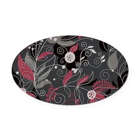 Elegant Floral Oval Car Magnet