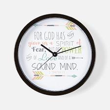 2 Timothy 1:7 Bible Verse Wall Clock