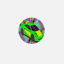 Green Race Car Tye Dyed Mini Button
