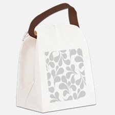 Gray and White Flourish Canvas Lunch Bag