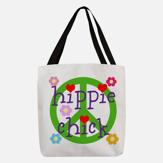 PEACE LOVE HEARTS FLOWERS Polyester Tote Bag