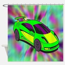 Green Race Car Tye Dyed Shower Curtain