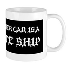 MY OTHER CAR IS A PIRATE SHIP STICKER Small Mug