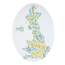 Pride and Prejudice Map Oval Ornament