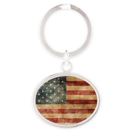 American flag grunge Oval Keychain