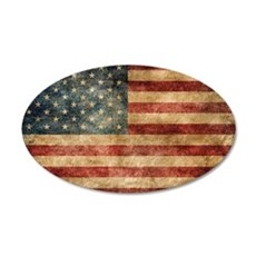 American flag grunge 35x21 Oval Wall Decal