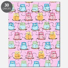 Modern Trendy Owls with Swirls (Pink) Puzzle
