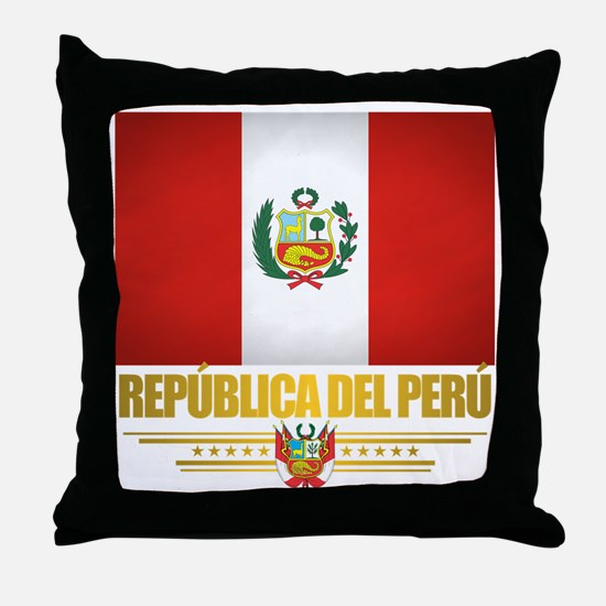 Flag of Peru Throw Pillow