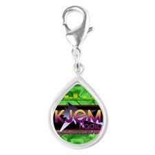 KJEM Radio EQ Green Logo pl Silver Teardrop Charm