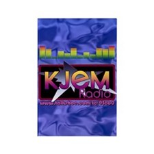 KJEM Radio EQ Blue Logo playing c Rectangle Magnet