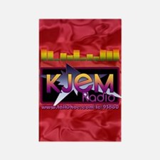 KJEM Radio EQ Red Logo playing ca Rectangle Magnet