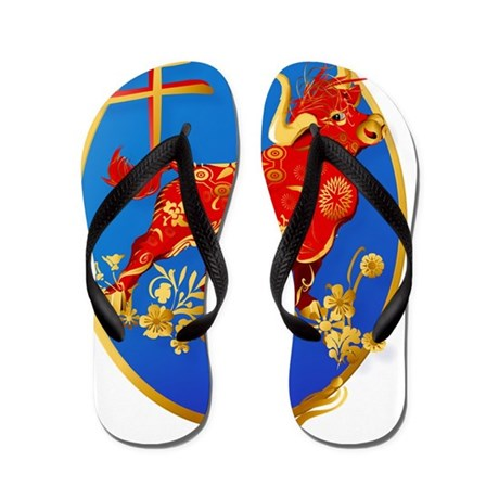 Year Of The Ox Oval Flip Flops