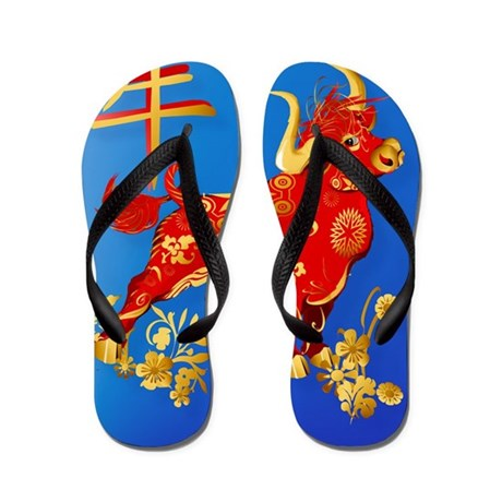 Year Of The Ox Flip Flops