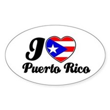 I love Puerto Rico Oval Stickers