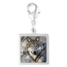 Wolf Silver Square Charm