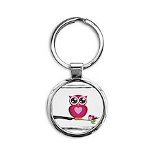 pink owl Round Keychain