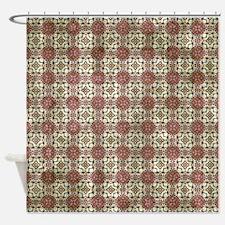 Grungy Burgundy Pattern Shower Curtain