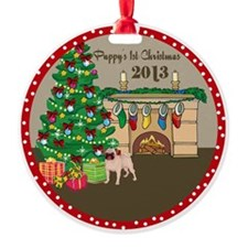 2013 Pugs 1St Christmas Ornament