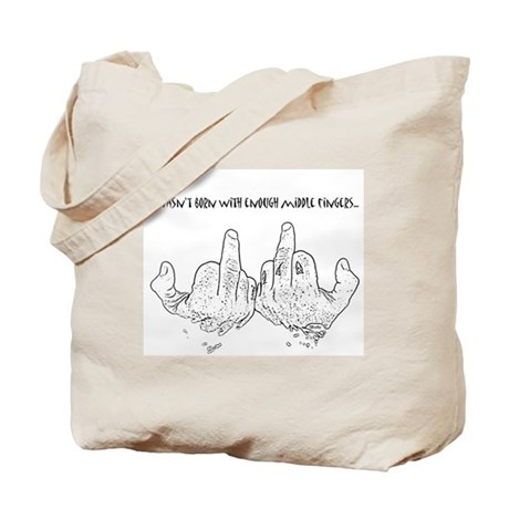 middle fingers Tote Bag