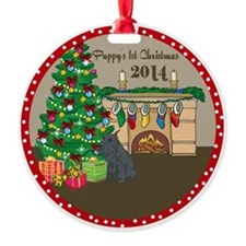 2014 Schnauzer 1St Christmas Round Ornament