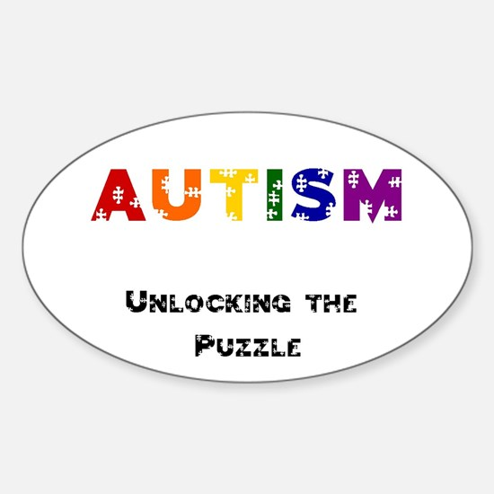 """""""Unlocking the Puzzle"""" Oval Bumper Stickers"""