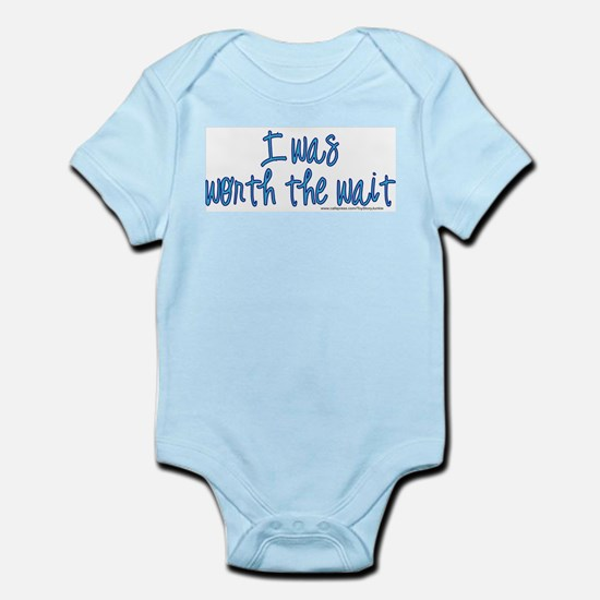 Worth the wait (blue) Infant Bodysuit