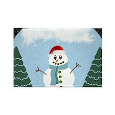Cartoony Christmas Snowman Rectangle Magnet