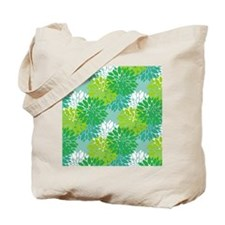 Aqua and Green Peonies Tote Bag