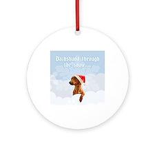Dachshund Through The Snow Ornament (Round)