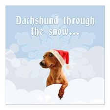 """Dachshund Through The Snow Square Car Magnet 3"""" x"""