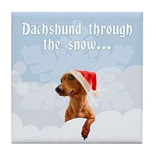 Dachshund Through The Snow Tile Coaster