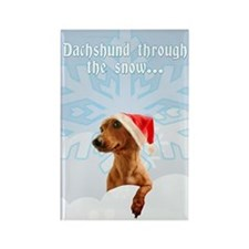 Dachshund Through The Snow Rectangle Magnet