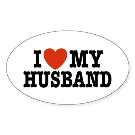 I Love My Husband Oval Sticker
