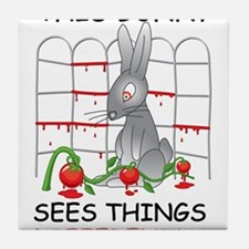 This Bunny Sees Things Differently Tile Coaster