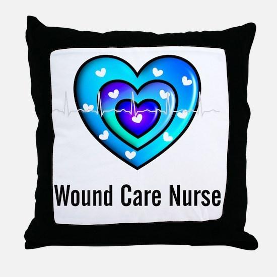 Wound Care nurse Blue Whites Throw Pillow