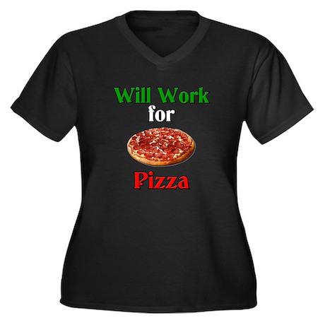 Will Work for Pizza Women's Plus Size V-Neck Dark