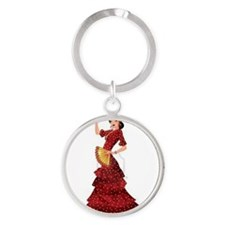 spanish flamenco dancer Round Keychain