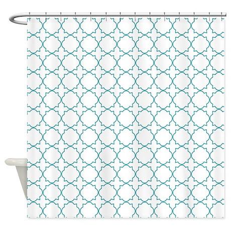 turquoise quatrefoil shower curtain by musicalartworks