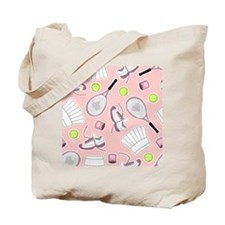 Tennis Girl Pattern Pink Background Tote Bag